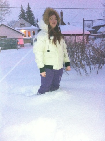 a almost a foot of snow Sudbury, Ontario Canada