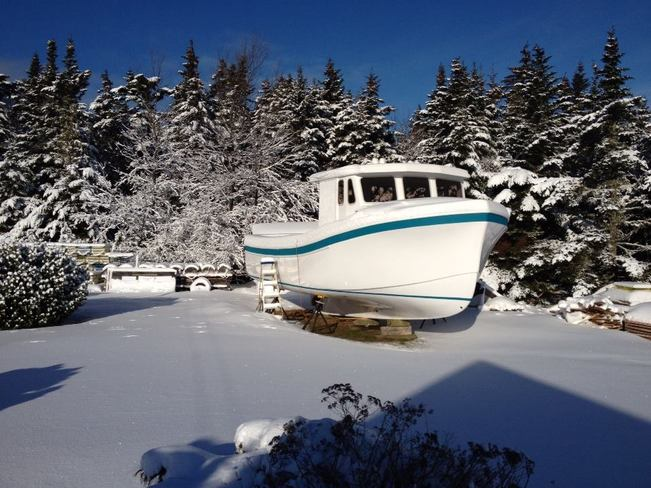 Sailing on a sea of snow Louisbourg, Nova Scotia Canada