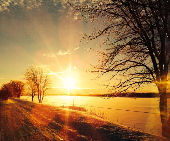 Beautiful Sunrise After Snow Fredericton, New Brunswick Canada