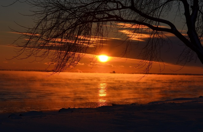Beautiful St-Lawrence River sunset Lachine, Quebec Canada