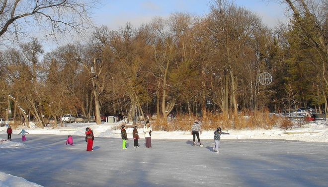 SKATING ON THE DUCK POND Winnipeg, Manitoba Canada