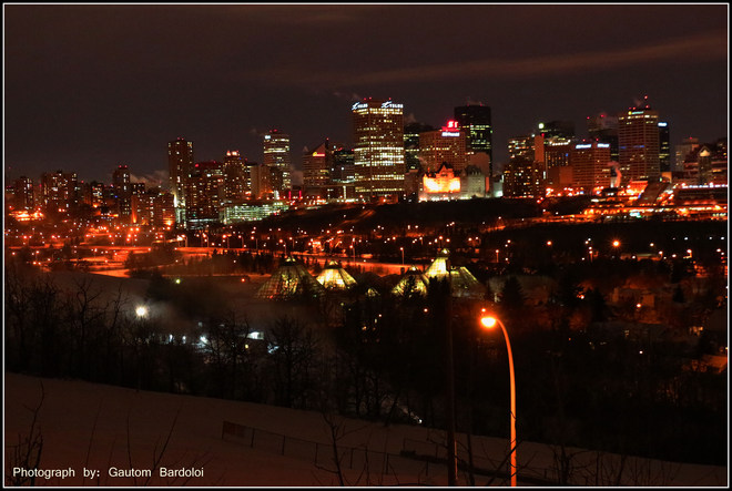 Edmonton Downtown winter night view Edmonton, Alberta Canada