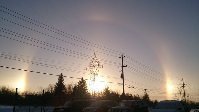 Winter Rainbow Around Morning Sun Barrie, Ontario Canada
