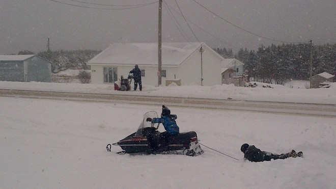 Fun in the snow Cape St. George, Newfoundland and Labrador Canada