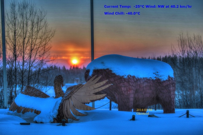 Temperature info on picture Swan Hills, Alberta Canada