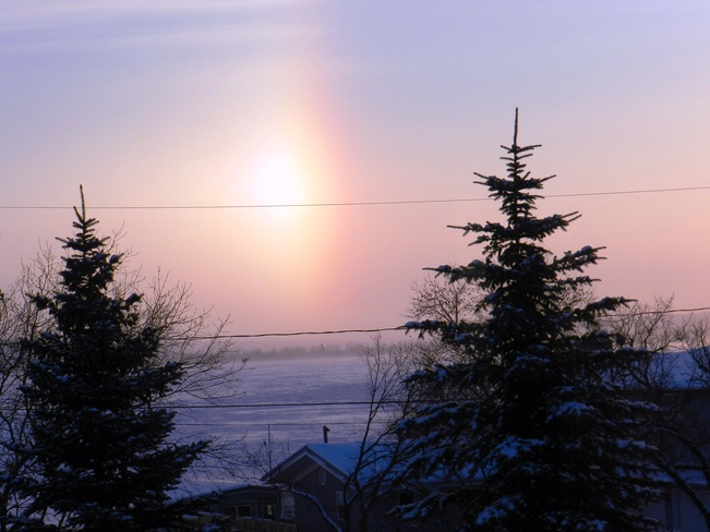 Windchills and Sundogs across the Lake Fort Qu'Appelle, Saskatchewan Canada