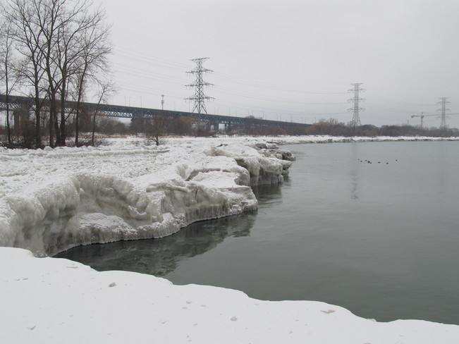 Ice Banks at the Canal Burlington, Ontario Canada