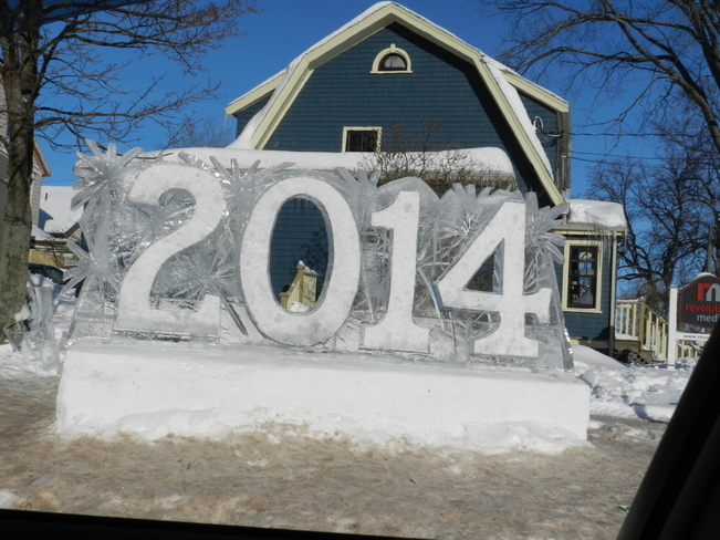 Snow sculpture marking the year of the 125 anniv of Confederation in PEI Charlottetown, Prince Edward Island Canada
