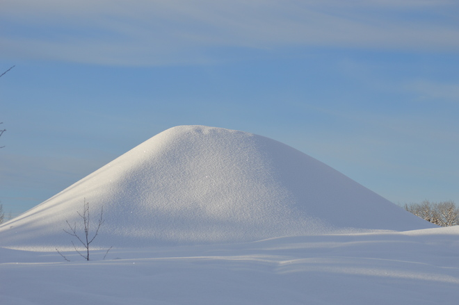 Snow mound on sunny day! Prince George, British Columbia Canada