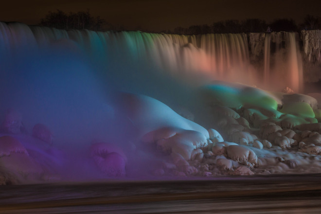 Niagara Falls on a Cold Winter Night Niagara Falls, Ontario Canada