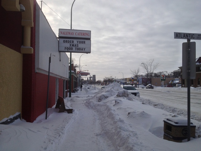 Main St. Snow Winnipeg, Manitoba Canada