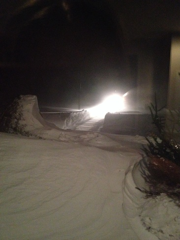 Snow blowing in blizzard Grand Bend, Ontario Canada