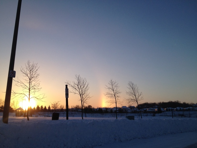 rainbow on the coldest jan 7 Kitchener, Ontario Canada