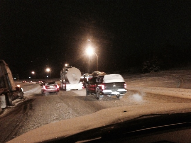 Slippery roads on beacon Hill. Fort McMurray, Alberta Canada