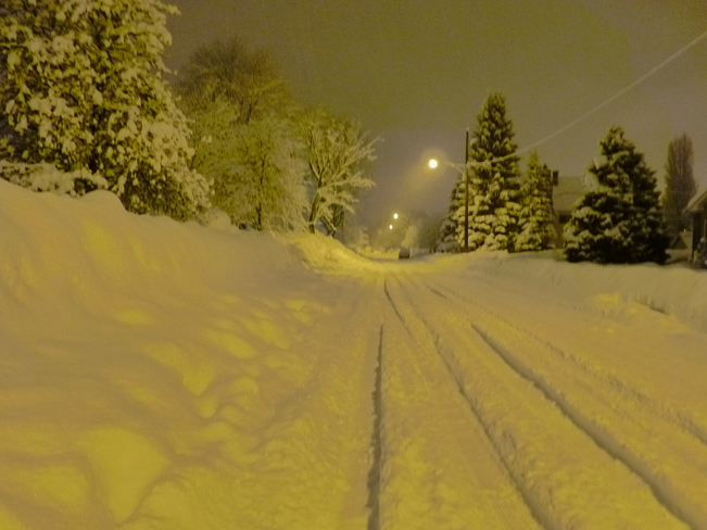 snow covered street Revelstoke, British Columbia Canada
