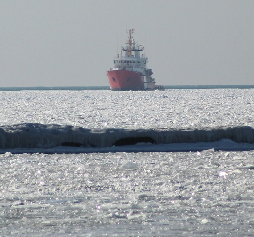 breaking up the ice Goderich, Ontario Canada