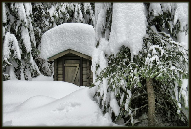 "Snowy little ""rest stop"" at Larch Hills. Salmon Arm, British Columbia Canada"