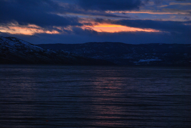 January sunset over Squally Point South Kelowna, British Columbia Canada