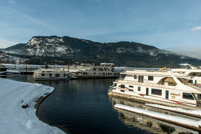 Waterway marina on beautiful January day Sicamous, British Columbia Canada