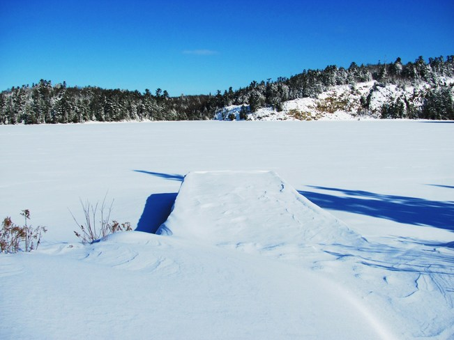 Winter Off the Dock Elliot Lake, Ontario Canada