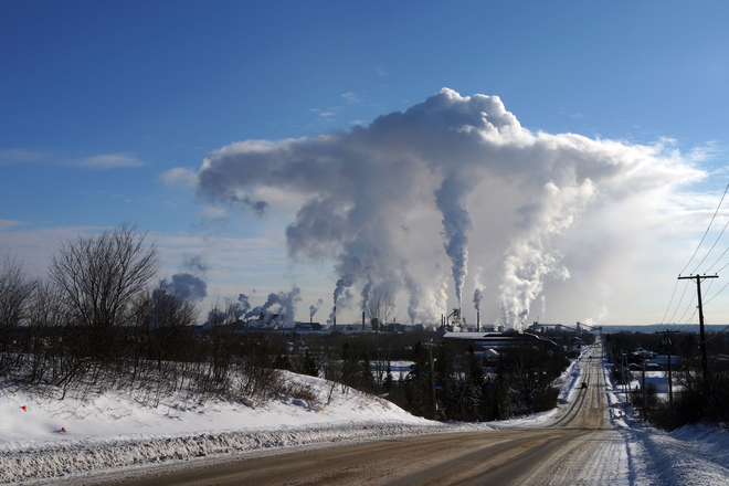 Steam Cloud over Algoma Steel Sault Ste. Marie, Ontario Canada