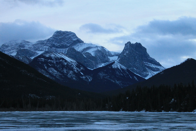 Beautiful Bow Valley in Winter Exshaw, Alberta Canada