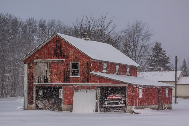 Red Barn in the Snow Stevensville, Ontario Canada