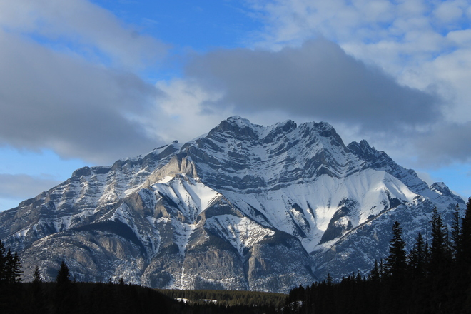 Cascade Mountain Wrapped in Winters Snow Banff, Alberta Canada