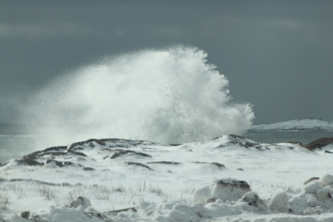 Day after Nor'Easter hits Cape Breton Louisbourg, Nova Scotia Canada