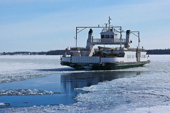 Amherst Island ferry - the ice-choked channel closes in Amherstview, Ontario Canada