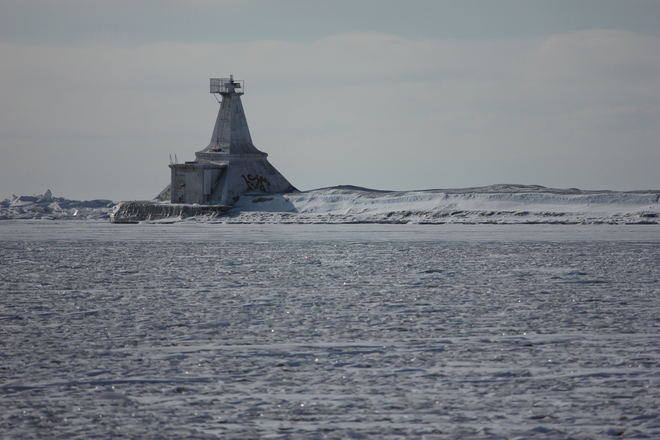 Lighthouse in ice Port Stanley, Ontario Canada