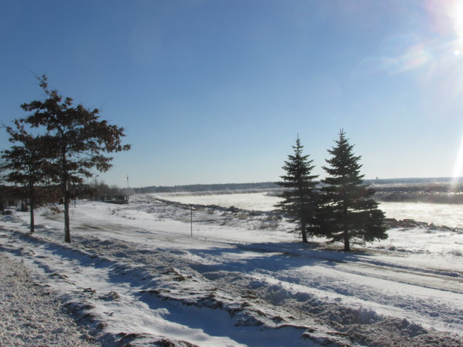 Sunny but cold along the river Dieppe, New Brunswick Canada