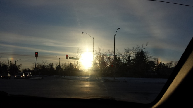 Sun dogs in January Brampton, Ontario Canada