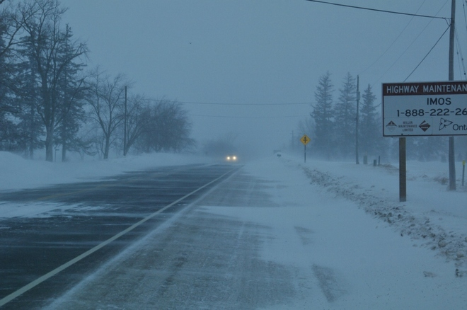 Bad driving conditions Stratford, Ontario Canada