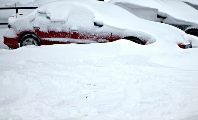 Car covered in snow drift Belleville, Ontario Canada