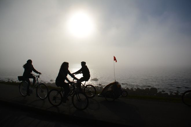 Cycling in fog! Vancouver, British Columbia Canada