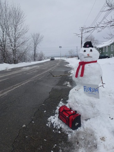 Snowman has enough! Antigonish, Nova Scotia Canada