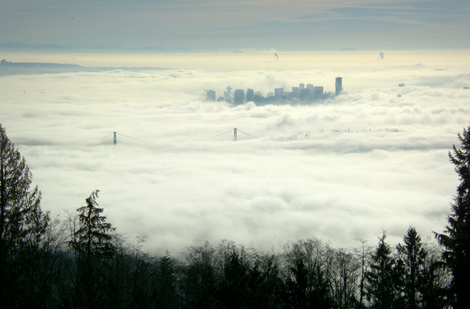 Vancouver Covered By A Blanket Of Clouds Vancouver, British Columbia Canada