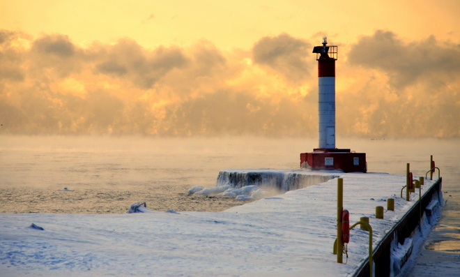 Sea Smoke on Lake Ontario Oakville, Ontario Canada