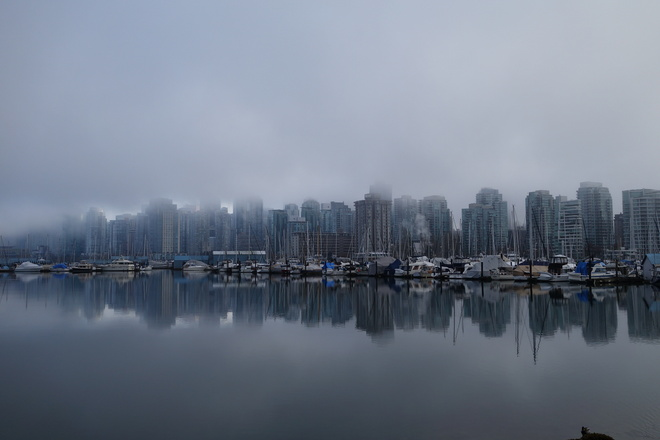 The Foggy Downtown Vancouver Vancouver, British Columbia Canada