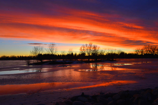 Fiery Chinook Sunset Sunrise Lethbridge, Alberta Canada