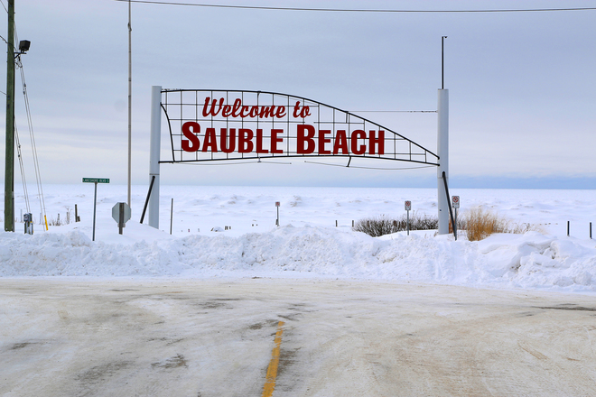 "Famous ""Sauble Beach"" Sign in the winter Sauble Beach, Ontario Canada"