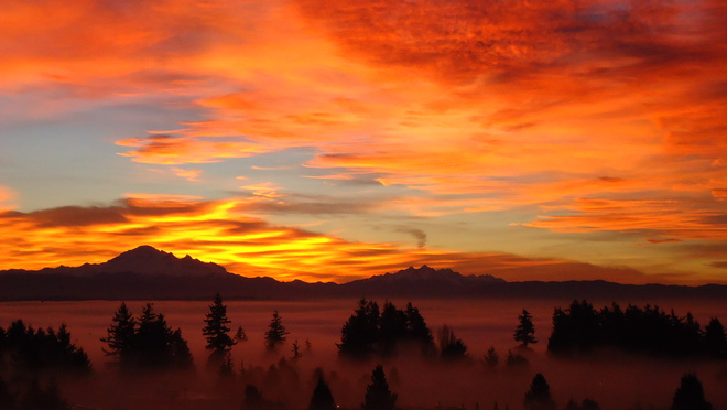 Sunrise over foggy White Rock White Rock, British Columbia Canada