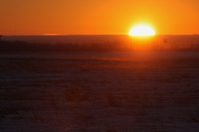 Sunset slipping over the horizen Tofield, Alberta Canada