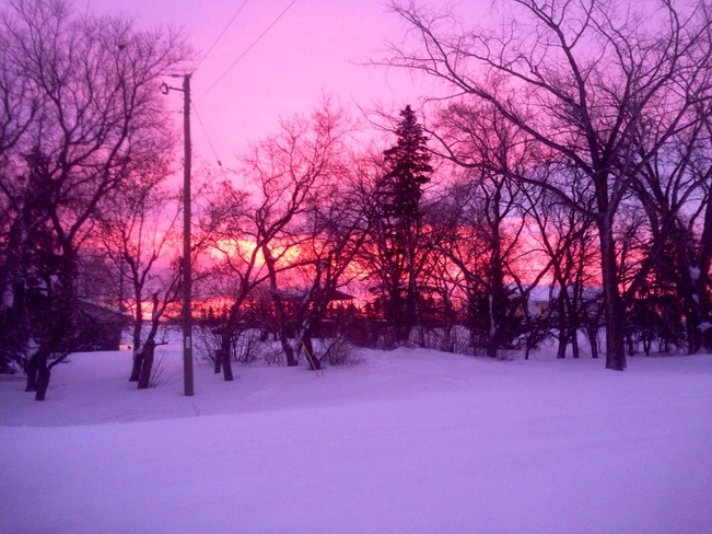 early morning sunrise Blumenort, Manitoba Canada
