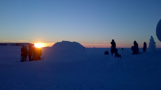 Igloo Building by students Hall Beach, Nunavut Canada