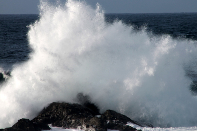 waves crashing near Amphitrite Lighthouse in Tofino Ucluelet, British Columbia Canada