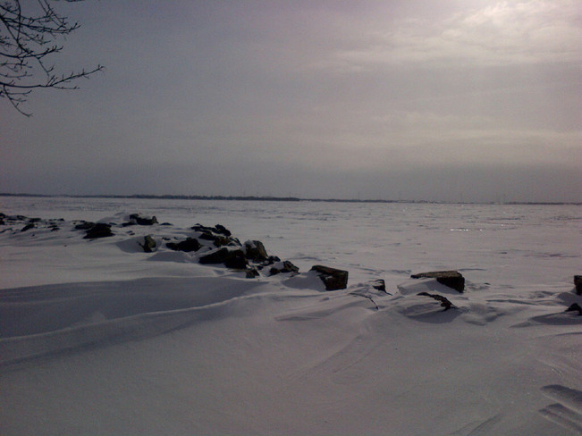 Frozen lake Kingston, Ontario Canada
