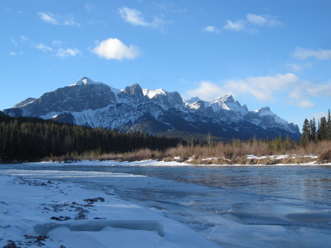 Bow River on the last day in January. Canmore, Alberta Canada