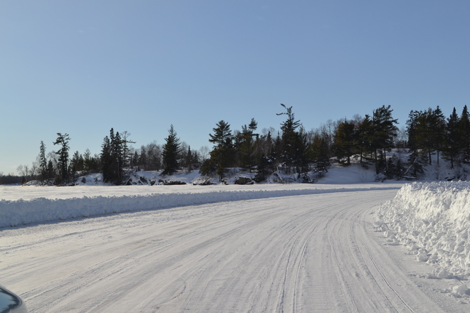 Driving the ice road on Lake of the Woods Kenora, Ontario Canada